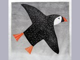 Lisa Hooper - Puffin - Japanese woodblock print
