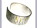 Heather Andrews - Silver Birch bangle - recycled silver with 23ct gold decoration