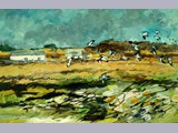 Sheena McCurrach - Lapwings, Carrick - oil